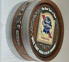 """Vintage 16"""" Pabst Blue Ribbon Beer Barrel Bar Sign,Keg REAL TASTE,Give That Man!"""