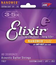 Elixir 11027 Coated Acoustic Guitar Strings 11-52 Custom Light Free US Shipping
