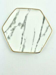 NEW Pier 1 Imports Marble Jewelry Dish Key Change Plate Gold Trim FabFitFun NIB