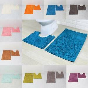 2 Piece Bath Mat Pedestal Set Tumble Twist 100% Cotton Bath Toilet Bathroom Mats
