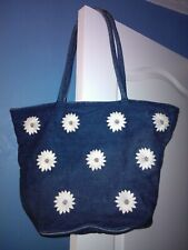BLUE & WHITE FLORAL DENIM HANDBAG
