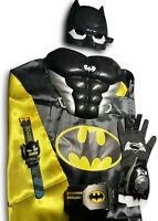 BATMAN TOYS BUNDLE Boy Kids Batman Costume Batman Mask Cape shooter Belt + Watch