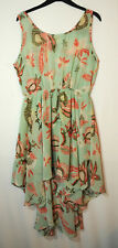 MINT GREEN BLUE BROWN RED LADIES CASUAL PARTY DRESS SKATER SIZE 14 GLAMOROUS