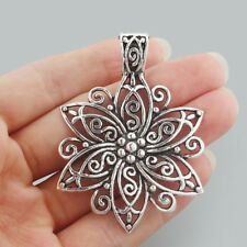 2 x Large Tibetan Silver Open Filigree Flower Charms Pendants 67x48mm