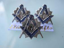 Masonic Master Mason  Cufflinks, lapel pin. Silver Plated.