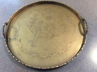 Vintage Antique Chinese Brass Bronze Etched Embossed Tray 12 Inches