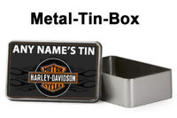 Personalised Harley Davidson themed Metal Storage Tin Box For Fathers Day