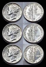 1945-P 1945-D 1945-S Mercury Dime Set - Brilliant Uncirculated - 90% Silver