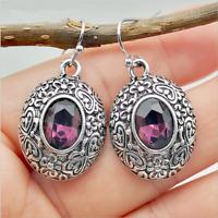 Vintage Oval Cut Amethyst Dangle Drop Earrings 925 Silver Womens Wedding Jewelry