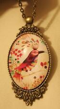 Striking Floral Framed Brasstone Colorful Bird on a Perch Cameo Medal Necklace