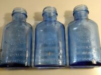 Lot of 3 Cobalt Blue Phillips Milk of Magnesia Bottles Medicine Apothecary Used