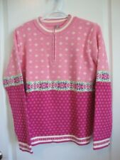 Hanna Andersson SNOW OVER STOCKHOLM Pink Snowflake Sweater Women Size Medium M