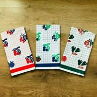 Pack of 3 Printed Kitchen Tea Towels Set Large Dish Cloths 100% Cotton 70x50 CM