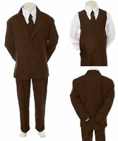 New Baby Infant Toddler Kid Formal Wedding Tuxedo Brown Boy Suit 5pc Set sz S-12