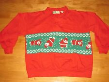VINTAGE WINNING UGLY CARTWHEEL SANTA TACKY CHRISTMAS SWEATER SWEATSHIRT SZ MED