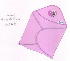 Accappatoio-Asciugamano Triangolo Neonato Puffi Puffetta Baby Boy Rosa Bassetti