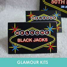 PERSONALISED LAS VEGAS CASINO NEON LIGHT SWEET CANDY BAR BUFFET TABLE CARDS