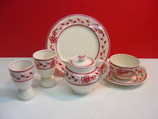 Adams China Red Floral Pattern BREAKFAST SET w/ Egg Cups & Individual Teapot