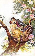 Postcard Man and Woman Lovers Couple Sitting in a Bird Nest~113148