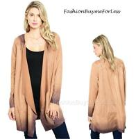 LagenLook Retro BOHO Hippie Gypsy Ombre Faux Suede Draped Duster Jacket S M L XL