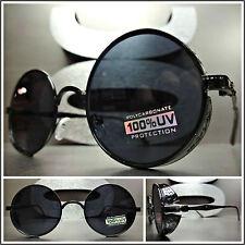 VINTAGE 50's RETRO Style STEAMPUNK CYBER Round Blinder SUN GLASSES Black Frame