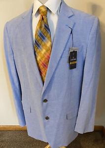 NEW Stafford Sz 46L Light Blue Basket Weave Cotton Sport Coat Blazer Jacket NWT