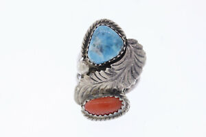 Vintage Signed DTN Navajo Native American Sterling Turquoise Coral Feather Ring