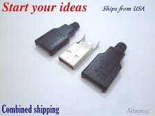 3Pcs USB Type A Male DIY Connector Plug Jack Cable Replacement w/ Shell