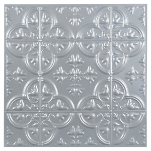 "3D Gray Faux Tin Peel Stick Vinyl Wall Tile Backsplash Ceiling Lightweight 12"""