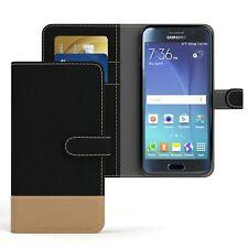 Tasche für Samsung Galaxy S6 Jeans Cover Handy Schutz Hülle Case Schwarz