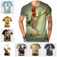 Funny Rooster 3D Print Womens Mens Casual Short Sleeve T-Shirt Tops
