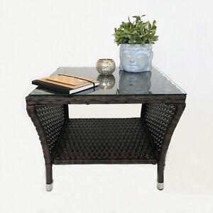 Beistelltisch 'Ulm' Couchtisch Gartentisch Loungetisch Polyrattan 50x50cm Braun