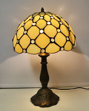 TIFFANY STYLE STAINED GLASS CREAM JEWELLED TABLE LAMPS 18""