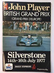 John Player British Grand Prix Silverstone 1977 programme