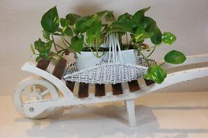 Restauriert Holz Blumenwagen Schubkarre Landhaus Shabby Chic weiß Vinatge Deko