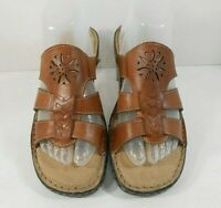 Naturalizer CARNIVAL Womens Strappy Sandals Sz 8.5 W Leather Walking Wedge Tan