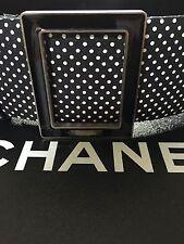 Chanel 13P NEW MOST WANTED Black Ecru Gold Leather Tweed Polka Dot Belt FR34