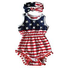 4th Of July Outfit Romper Bubble Patriotic Baby Girls Red White Blue 9 12 M