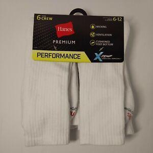 Hanes Men's Cushioned Crew Socks 6 pk. Premium Performance X-Temp Size 6-12 New