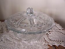 """KIG Oyster Pearl Clear 7"""" Bowl Candy Dish w Lid Vintage Indonesia Beaded Glass"""