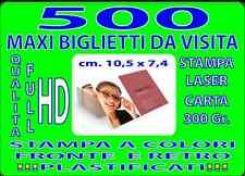 500 BIGLIETTI DA VISITA MAXI CM 7 X10  A COLORI FRONTE E RETRO PLASTIFICATI