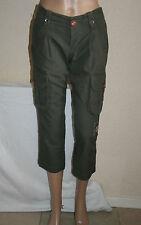 Diesel Womens Khaki Cropped Combat Trousers 3/4 Length Capri Pants W26 New