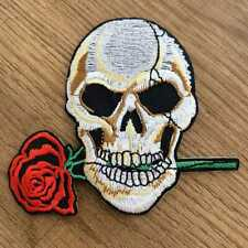Bügelbild Aufnäher Applikation Patch Nähen Basteln Verzieren Totenkopf Rose