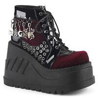 Burgundy Red Velvet Platform 90s Gothic Punk Sneaker Ankle Boots Demonia 8 9 10