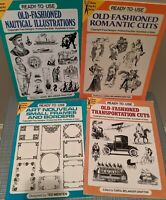 4 Dover Clip Art Series Books Romantic Nautical Nouveau Transportation Lot
