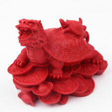 100% Natural Red Cinnabar Hand-carved Dragon Turtle Home Decoration & Ornament