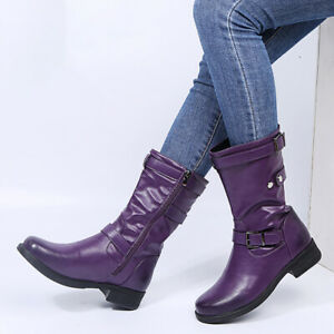 Womens Buckle Riding Mid Calf Boots Biker Low Heel Round Toe Zip Up Casual Shoes