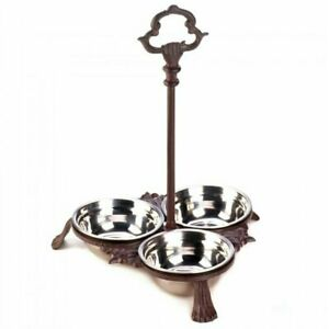 Long Cast Iron Pet Bowl Set With Handle For Dog Cat Food Water Feeder Stainless