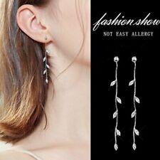 Fashion 925 Silver Crystal Leaf Long Tassel Earrings Drop Ear Stud Women Wedding