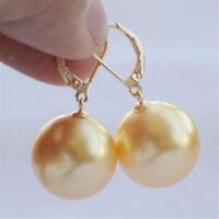 Perfect 16mm natural Australian south sea golden shell pearl earrings  AAA